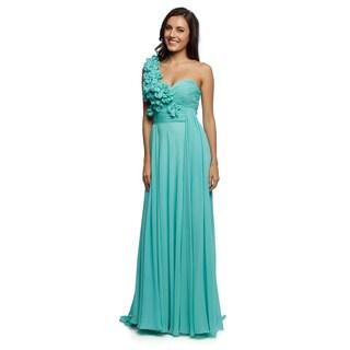 Daniella Couture Women's Ocean Blue Ruffled Shoulder Gown
