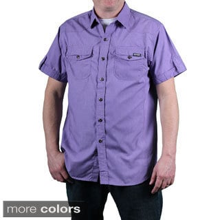 MO7 Men's Garment Washed Woven Short Sleeve Shirt