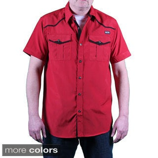 MO7 Men's Pinstripe Woven Short Sleeve Shirt