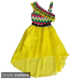 Girls Zig-zag Top Belted High-low Dress