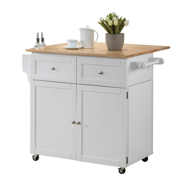White Kitchen Storage Cart and Leaf Overstock