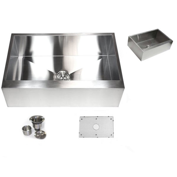 Kitchen Sink Attachments : ... inch 16-gauge Stainless Steel Flat Apron Kitchen Sink with Accessories