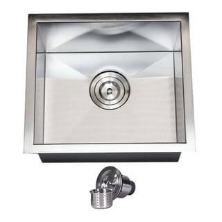 17-inch Stainless Steel Single Bowl Zero Radius Undermount Bar Sink with Basket Strainer