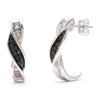 Sterling Silver Black and White Diamond Accent Semi-hoop Earrings
