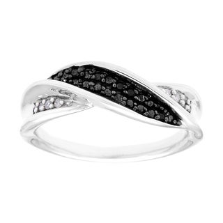 Sterling Silver Black and White Diamond Accent Fashion Ring (I-J, I1-I2)