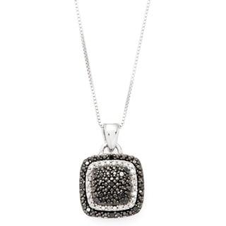 Sterling Silver 1/5ct TDW Black and White Diamond Pendant Necklace (I-J, I1-I2)