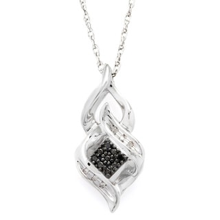Sterling Silver Black and White Diamond Accent Fashion Pendant Necklace