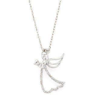 Sterling Silver Diamond Accent Angel Pendant Necklace