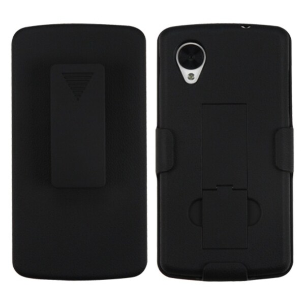 BasAcc Black Hybrid Holster Case with Stand for LG D820 Nexus 5