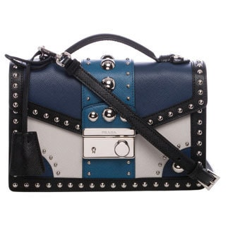 Prada Tricolored Saffiano Leather Studded Crossbody Bag