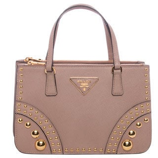 Prada Nude Saffiano Leather Studded Mini Tote