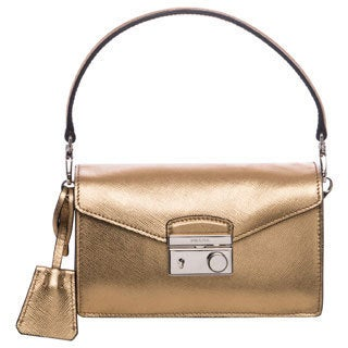Prada Gold Saffiano Leather Mini Sound Bag