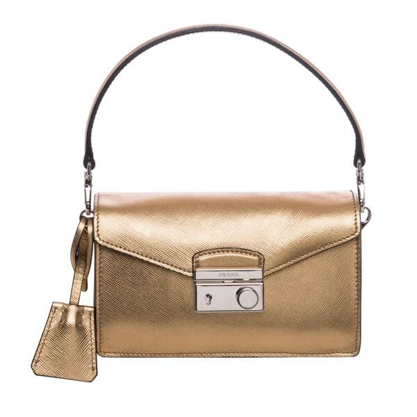 Prada Gold Saffiano Leather Mini Sound Bag - 16172771 - Overstock ...