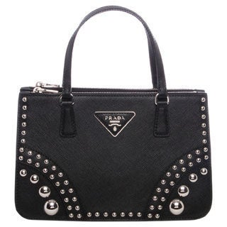 Prada Black Saffiano Leather Studded Mini Tote