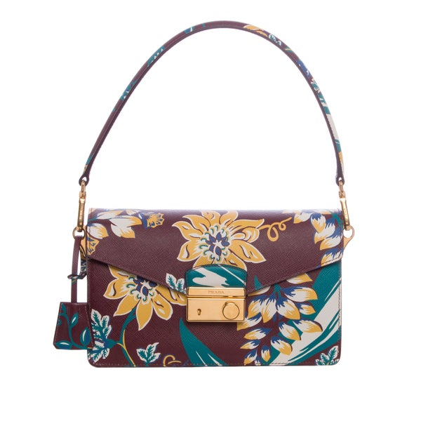 Prada Floral Print Saffiano Leather Sound Shoulder Bag
