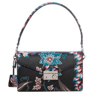 Prada Black Floral Print Saffiano Leather Sound Shoulder Bag