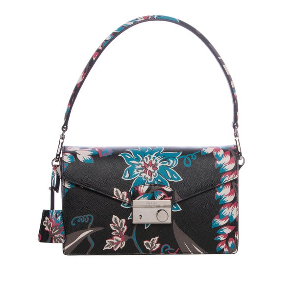 Prada Black Floral Print Saffiano Leather Sound Shoulder Bag ...