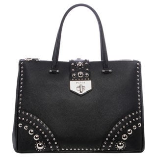 Prada Black Saffiano Leather Studded Tote
