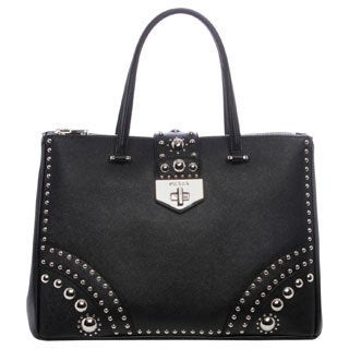 Prada Black Saffiano Leather Studded Tote
