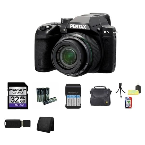 Pentax X-5 16MP Black Bridge Digital Camera 32GB Bundle