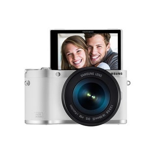 Samsung NX300M Mirrorless 20.3MP Wi-Fi White Digital Camera Body with 18-55mm OIS Lens