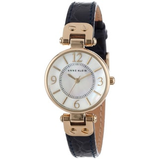Anne Klein Women's Navy Blue Leather Strap Watch