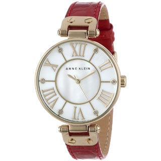 Anne Klein Women's Red Genuine Leather Strap Watch