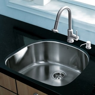 Vigo All-in-One 24-inch Undermount Stainless Steel Kitchen Sink and Faucet Set