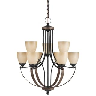 Corbeille 9-light Stardust Ceruse Oak Chandelier