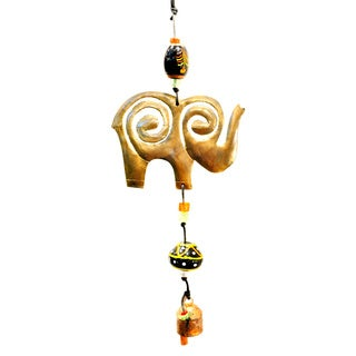 Handmade Protective Elephant Wind Chime Trunk Up (India)
