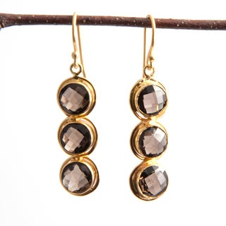 Sitara Handmade 18k Yellow Goldplated Smoky Quartz Dangle Earrings (India)