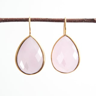Sitara Handmade 18k Yellow Goldplated Pear Rose Chalcedony Dangle Earrings (India)