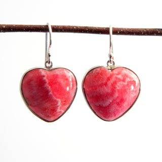 Sitara Handmade Sterling Silver Rhodochrosite Heart Dangle Earrings (India)