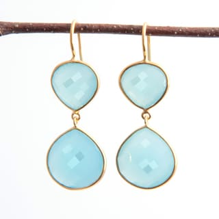 Sitara Handcrafted Goldplated Aqua Chalcedony Dangle Earrings (India)