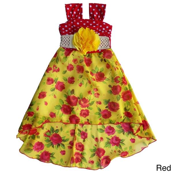 Toddler and Girls Polka Dot and Floral Hi-low Dress Set