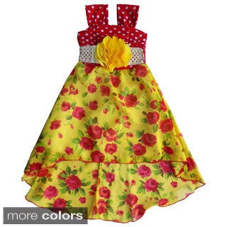 Toddler and Girls Polka Dot and Floral Hi-low Dress Set