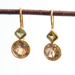 Sitara Handmade 18k Yellow Goldplated Citrine and Peridot Dangle Earrings (India)