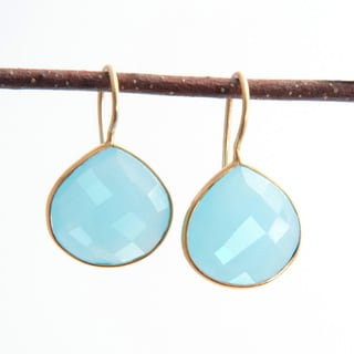Sitara Handmade 18k Yellow Goldplated Aqua Chalcedony Dangle Earrings (India)