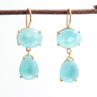 Sitara Handmade 18k Goldplated Aqua Chalcedony Dangle Earrings (India)