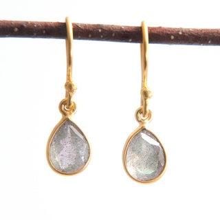 Sitara Hand-crafted Goldplated Smoky Labradorite Dangle Earrings (India)