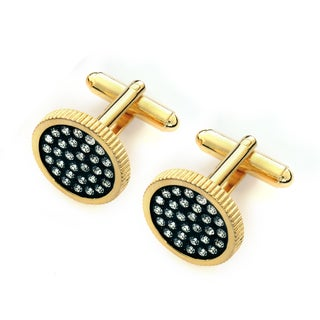 EJ Sutton Men's Classic 14k Goldplated Two-tone Crystal Cufflinks (Israel)