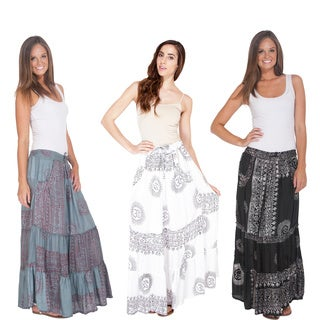 Handmade Women's Ohm Cotton Boho Gypsy Skirt (Nepal)
