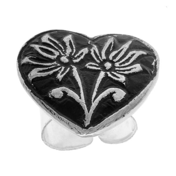 Handmade Antiqued Silverplated Flowers in a Heart Ring (India) 12808042