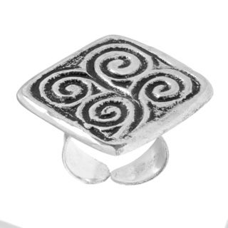 Antiqued Silverplated Abstract Swirls Ring (India)