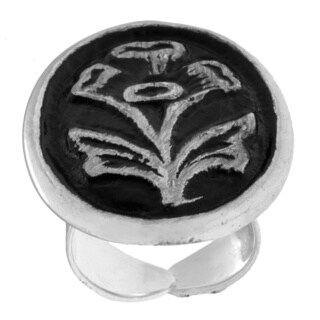 Handmade Antiqued Silverplated Flower Fashion Ring (India)