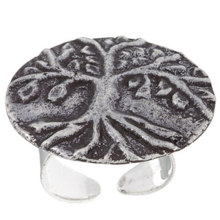 Handmade Antiqued Silverplated Tree of Life Design Fashion Ring (India)