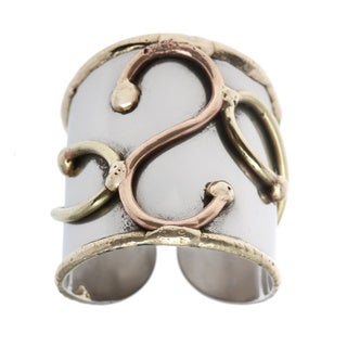 Handmade Mixed Metal Tri-tone Abstract Fashion Ring (India)