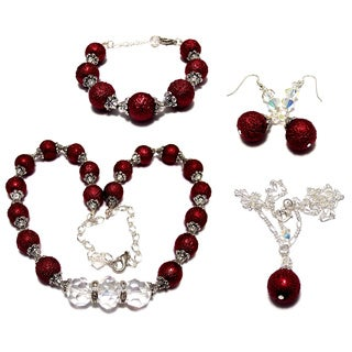 Dark Red Textured Glass Pearl and Clear Crystal 4-piece Wedding Jewelry Set