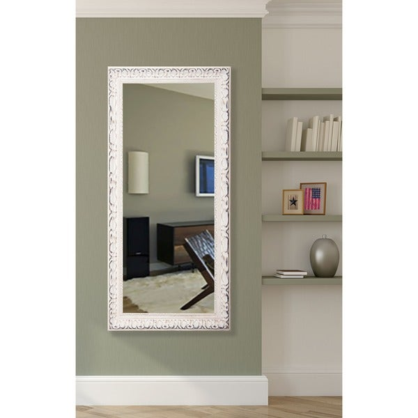 American Made Rayne Distressed French Victorian White Full Length Mirror