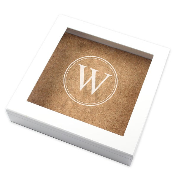 White Personalized Cork Board Keepsake Box